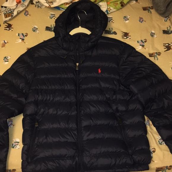 ralph lauren down puffer jacket dark polo shirt